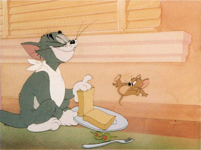 tom and jerry, lunch, toast, food