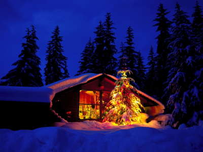 Winter house on christmas