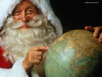 Santa watching the globe