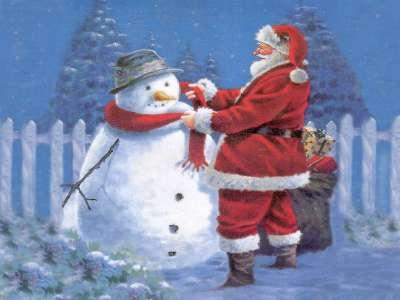 Snowman and Santa Claus