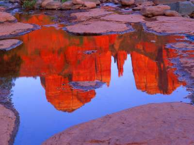 Cathedral Rocks Reflects In Red Rock Crossing, S