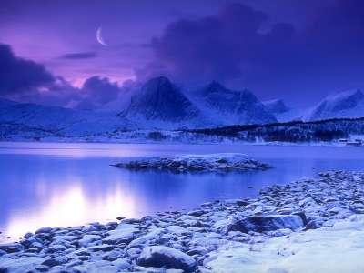 Cold Mountain Lake At Dusk, Skarstad, Norway