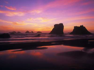 Twilight Reflections, Bandon Beach