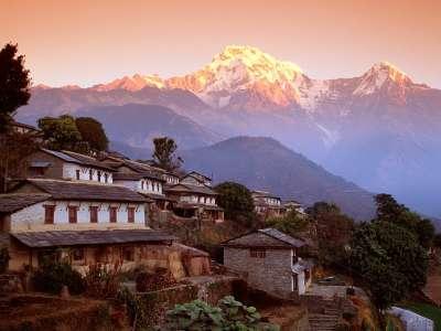 Ghandrung Village And Annapurna South Nepal Himalaya