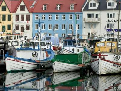 Docked Boats Streymoy Island Faroe Islands