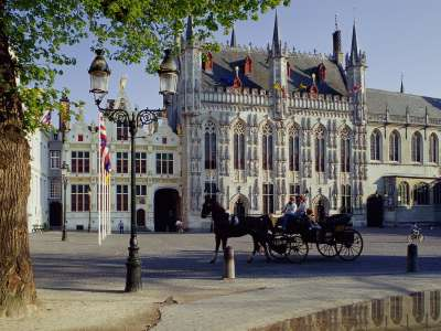 Horse Drawn Carriage Town Hall Brugge Belgium