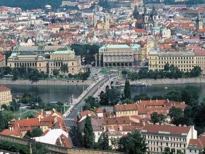 Manesu Bridge Over The Vltava River Prague Czech Republic