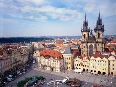 Old Town Square And Tyn Church Prague Czech Republic