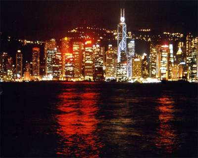 HKG Hong Kong Island Skyline By Night