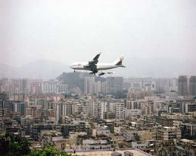 HKG Hong Kong A Jumbo Jet Approaches Kai Tak Airport