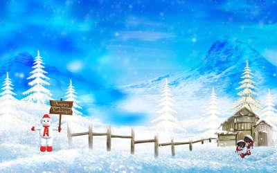Christmas Winter Snow Scene