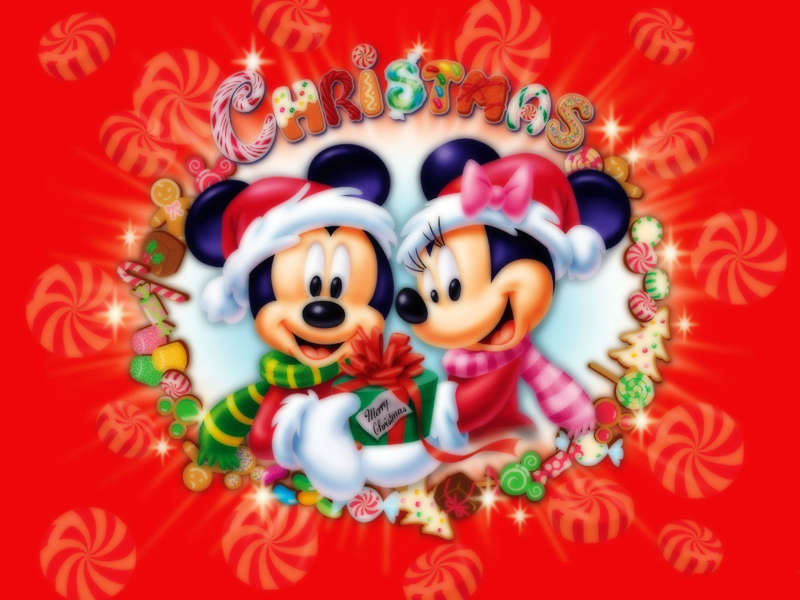 Mickey and Minnie mouse wish you a merry christmas