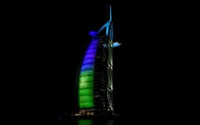 Dubai The Bur Jal Arab Tower Blue And Green