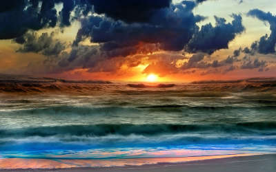 Waves With Sunset
