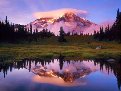 Mount Rainier And Lenticular Cloud Reflected