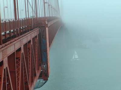Bridge from fog