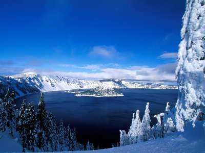 Crater Lake In Winter Oregon