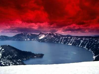 Scarlet Skies Crater Lake in Oregon