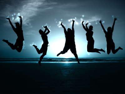 Jumping People on beach