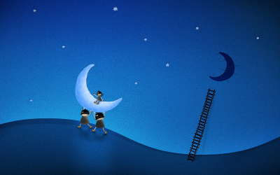 Kids with Moon