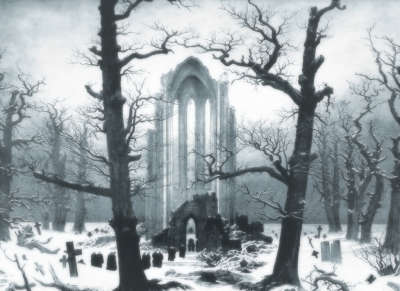 Trees and Church in Graveyard
