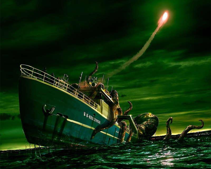 octopus attacked a ship