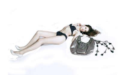 Brunette And Bag