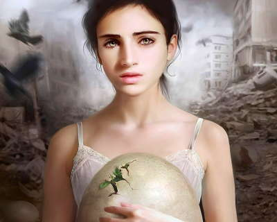Woman holding an Egg