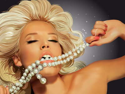 Blonde Woman With Pearls