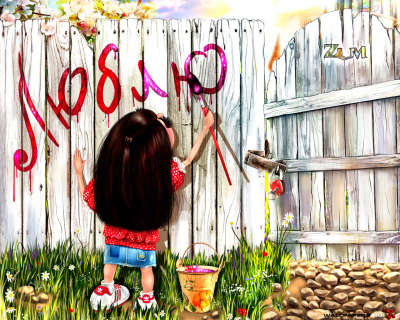 Girl Painting on Fence
