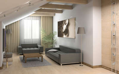 Gray Couch in Living Room