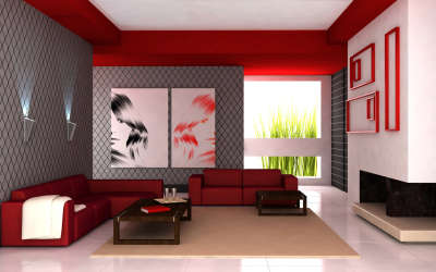 Red Couch in Living Room