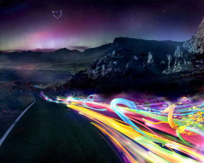 Road and Rainbow Lights