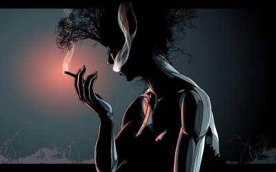 Womain is smoking