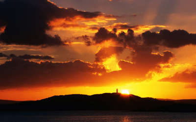 Sunset Over Scrabo Tower Strangford Lough County Down in Ireland