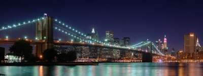 Brooklyn Bridge Panorama At Night