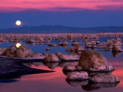Moonrise At Mono Lake in California
