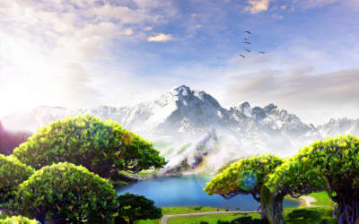 Spring Trees And Mountains