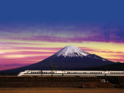 Shinkansen Bullet Train And Mount Fuji Japan
