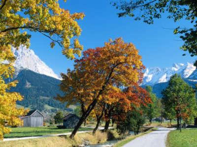 Ehrwald In Autumn Alps Tyrol Austria