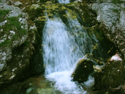Mountains Vrsic with Waterfall