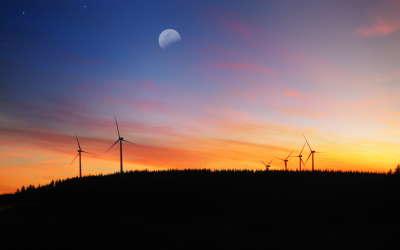 Sunset and windmills