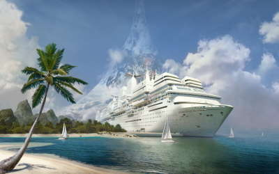 Luxury Ship on the Beach