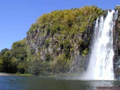 Nature Waterfall into lake