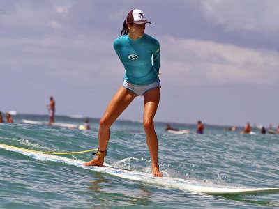Alessandra Ambrosio Surfing In Hawaii