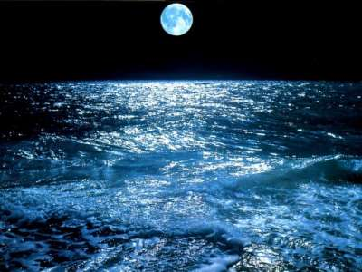 Moon from sea