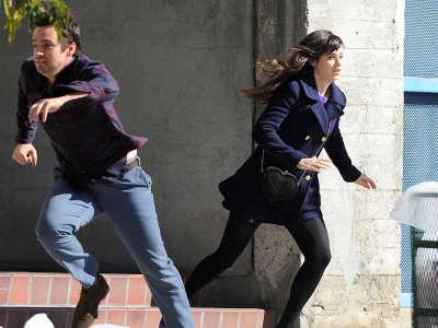 Zooey Deschanel On The Set Of New Girl In LA